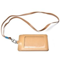 ID Leather Card Holder Card Case Badge Necklace Neck Strap Lanyard Chic Brown - intl