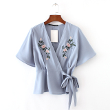 Review Women S European And American Fashionable V Neck Short Sleeve Shirt With Bows China