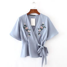 Low Price Women S European And American Fashionable V Neck Short Sleeve Shirt With Bows