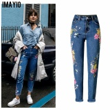 Imayio Flower Embroidery Jeans Women Vintage Ripped Pants Pockets Straight Jeans Female Bottom Plus Size Women Denim Trousers Intl Shopping