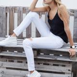 Low Cost Imixlot S*xy Woman Waist Knee Hole Stretch Slim Straight Jeans Feet White