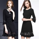 The Cheapest Spring And Summer Bell Sleeve Half Sleeved Princess Dress Black Online