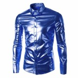 Cheap Incerun Novelty Fancy Stage Dance Show Shirts Mens Shiny Casual Shirts Long Sleeve Party Dress Shirt Night Club Wear Autumn Spring Blue Intl