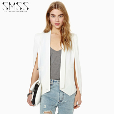 Price Ink Landscape Spring And Autumn New Style European And American Casual Shawl Cape Coat Vest Long Sleeved Small Suit Female White Online China
