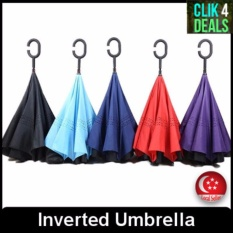 Promo Inverted Umbrella Long Handle C Type Handle Light Weight Dark Blue