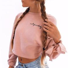 Sale Isassy Women Bowknot Long Sleeve Sweater Pullover Crop Tops Hoodie Sweatshirt Jumper Isassy On Singapore