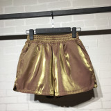 Buy Cool Cool Korean Style Solid Color Female Spring And Autumn Loose Wide Leg Pants Shorts Golden Golden Online China