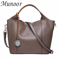 Purchase Munoor Women Handbags 100 Genuine Cow Leather Elegant Shoulder Bags Fashionable Tote Bags Khaki Intl