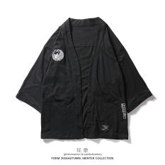 Top Rated Japanese Style Retro High Street Kimono Taoist Priest Robe Print Sweatshirt Black