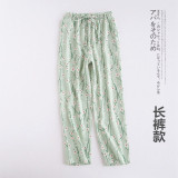 Great Deal Japanese Style Cotton Double Gauze Plus Sized Home Pants Women Shorts Green Trousers Small Fresh