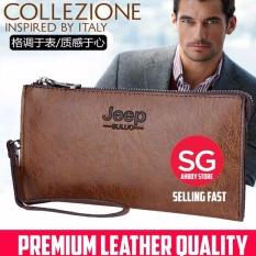 Cheapest Jeep Buluo Khaki Professional Men New Fashion Leather Hand Bag Wallet
