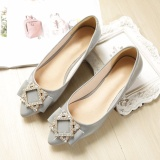 Retail Jetcorn Women Genuine Leather Soft Sole Rhinestone Driving Simply Style Scoop Pointed Single Shoes Grey Size 34 43