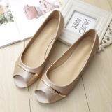 Best Price Jetcorn Women Party Wedding Flat Heel Genuine Leather Soft Sole Sequins Peep Toe Single Shoes Gold Size 34 43