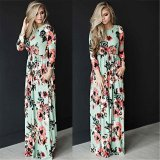 Wholesale Jiayiqi Classic Dresses Women O Neck Long Sleeves Rose Dress Intl