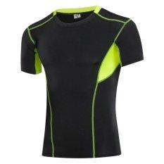 Jieyuhan Men Sports Compression Tight T Shirts Jogging Running Fitness Shirts Gym Training Tops Black Green Intl Discount Code