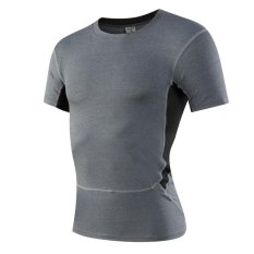 Compare Jieyuhan Mens Compression Skin Tight Under Sports Base Layer Shortsleeve Shirts Grey Intl Prices