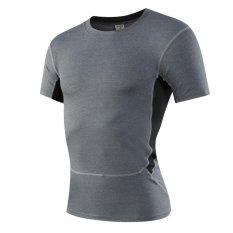 Cheaper Jieyuhan Mens Compression Skin Tight Under Sports Base Layer Shortsleeve Shirts Grey Intl