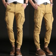 【Jimzivi】High Quality Mens Cargo Pants Casual Trousers Loose Overalls Army Trousers Khaki Intl On Hong Kong Sar China