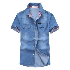 Buy Jinyue Store Summer Thin Short Sleeves Men Denim Shirts Male Youth Pure Color Shirt For Student Young People Intl Online China