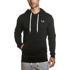 New Jirouxiongdi Cotton Slim Fit Hooded Men Sweater Hoodie Black