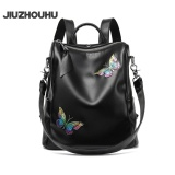 Retail Jiuzhouhu 2017 New Fashion Colorful Butterfly Handmade Real Leather Backpack Women Genuine Leather Bagpack Female Black Intl