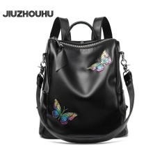 Cheaper Jiuzhouhu 2017 New Fashion Colorful Butterfly Handmade Real Leather Backpack Women Genuine Leather Bagpack Female Black Intl