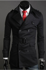 Store Jo In Men S Stylish Double Breasted Long Trench Coat Jacket Windbreak 2 Colors Black Oem On China