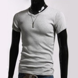 Cheaper Jo In Men S Stylish V Neck Short Sleeve Slim T Shirt Size S M L Xl Gray