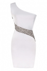 Compare Price Jo In S*Xy Women Sequins Mesh Patchwork Bodycon Evening Party Cocktail One Shoulder Dress S Xl White Oem On China