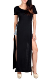 New Jo In Women S Round Neck Side Slits Long Dress M L Black