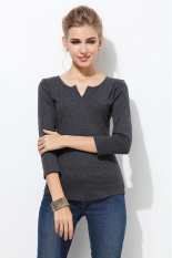 Sales Price Jo In Women S V Neck Bottoming Shirt Pure Color Tops Blouse S Xl Deep Gray