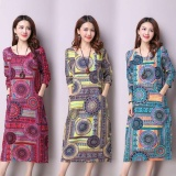 Great Deal Jojo 2018 Spring And Summer New Style Long Section Loose And Plus Sized Women National Wind Linen Art Fan Long Dress Light Blue Intl