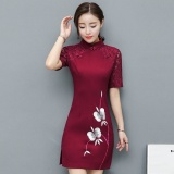 Cheap Jojo 2017 Summer New Womens Lace Stitching Ladies Temperament A Wordembroidered Improved Cheongsam Slim Short Sleeve Dress Purple Winered Intl