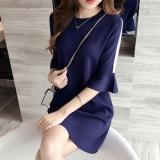 Price Comparisons For Jojo Ladies Summer Mini Dresses Work Wear Office Round Neck Shortruffled Sleeve Straight Dress Casual Blue M L Xxxl Intl