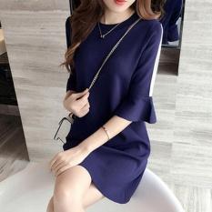 Jojo Ladies Summer Mini Dresses Work Wear Office Round Neck Shortruffled Sleeve Straight Dress Casual Blue M L Xxxl Intl For Sale