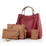 Jollychic Women S Hand Bags Set Stylish Solid Lady Chic All Macth Bags Set Red Intl In Stock