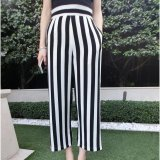 Joy Korea Korean Fashion Black And White Striped Waist Casual Pants Black Intl Oem Discount