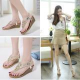 Price Comparisons Of Joy Korea Korean Fashion Bohemia Wedges Flip Flops Sandals Gold Intl