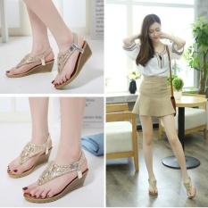 Buy Joy Korea Korean Fashion Bohemia Wedges Flip Flops Sandals Gold Intl Oem Online
