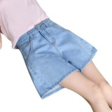 Low Cost Joy Korea Korean Fashion Loose Waisted Wide Leg Denim Shorts Blue Intl