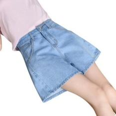 Compare Joy Korea Korean Fashion Loose Waisted Wide Leg Denim Shorts Blue Intl Prices