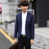 Joy Korea Korean Fashion Men S Casual Suit Loose Coat Jacket Navy Blue Intl Sale