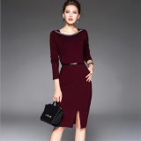Jvivi Womens Autumn Winter Vintage Elegant Casual Work Long Sleeve O Neck Bodycon Knee Women Office Pencil Dress Intl Compare Prices