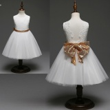 Latest Kaiyang Hot Deal Kids G*rl O Neck Sleeveless Lace Embroidery Sequins Dress With Bow White Intl