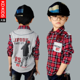 Who Sells Kdhan Version Kids Plaid Panel Long Sleeve Shirt Cheap