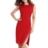 Store Kenancy Women S Studded Asymmetrical Bodycon Sheath Dress Side Split Waist Nipping Ruching Uneven Hem Sleeveless Cocktail Party Work Knee Length Dress Red Intl Kenancy On Singapore