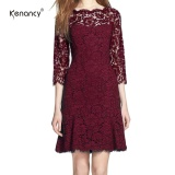 Sale Kenancy Womens Elegant Full Floral Lace Fit And Flare A Line Dress 3 4 Sleeve Cocktail Party Wedding Work Knee Length Dress Intl