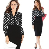 List Price Kenancy Womens Spring Autumn Polka Dot Elegant Formal Patchwork Long Sleeve Dress Office Charming Women Ruched Bodycon Shift Pencil Dress Intl Kenancy