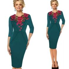 Purchase Kenancy Womens Stylish Elegant Applique Embroidery Crochet V Neck Work Office Bodycon Female 3 4 Sleeve Sheath Party Dress Intl