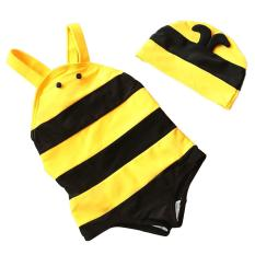 Retail Kids Baby Girls Cute Bee Style One Piece Swimsuit Swimwear Swimming Costume With Swimming Cap For 1 2 Year Old Size M Intl